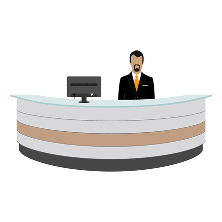 standing reception: Vector illustration happy male receptionist standing at hotel. Professional concierge at hotel reception desk