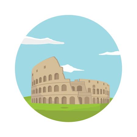 Colosseum in Rome background. Italy Landmark architecture vector illustration. Colloseum round flat icon Stock Illustratie