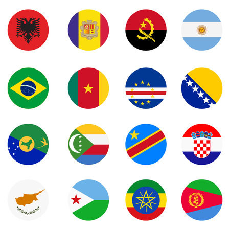 world flags: Collection of flag button design. Circle flags of the world.