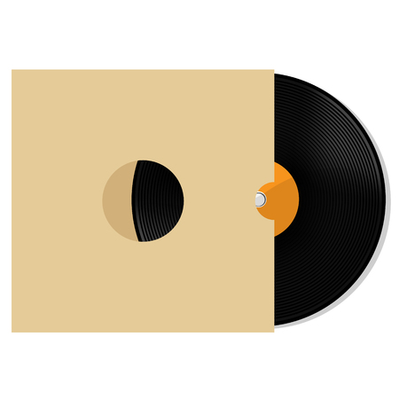 record cover: Vector illustration of orange vinyl record with white blank paper cover. Record sleeve with vinyl disc