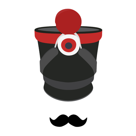 napoleon bonaparte: Vector illustration cylindrical military cap, hat with pompom and badge. Infantry shako hat and mustache