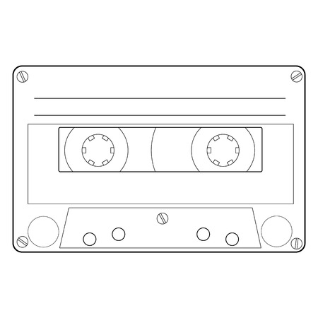tape line: Vector illustration outline drawing cassette. Cassette tape line icon. Audio cassette