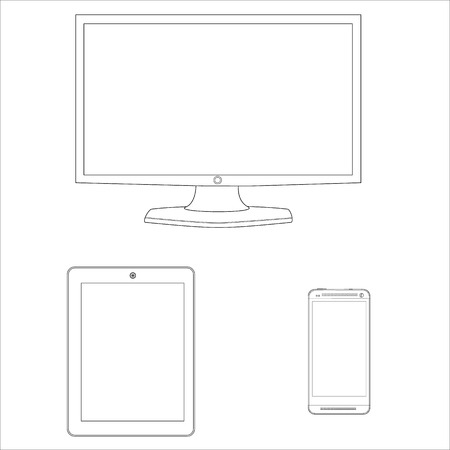 Vector illustration ultimate web design electronic devices line icon set. Computer monitor, smartphone, tablet pc template, design outline drawing