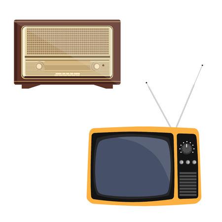 old radio: Vector illustration orange retro tv with antenna flat icon. Retro television. Old radio receiver of the last century. Retro vintage antique radio