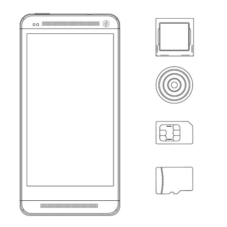wireles: Icons of the smartphone and its component parts outline drawing. Sim card, sd memory card, camera and processor line icon set Illustration