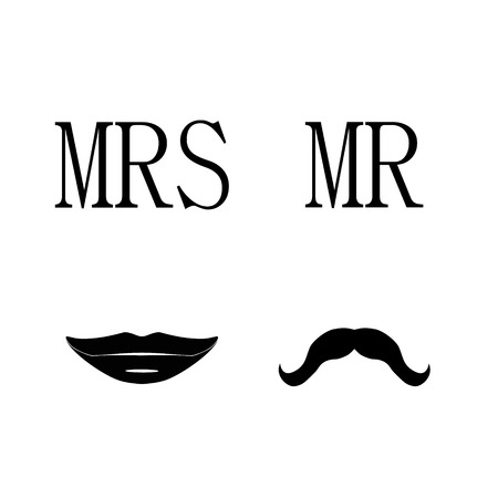 mrs: Ladies and gentleman vector illustration black silhouette lips kiss and  mustache. Mrs and mr symbols