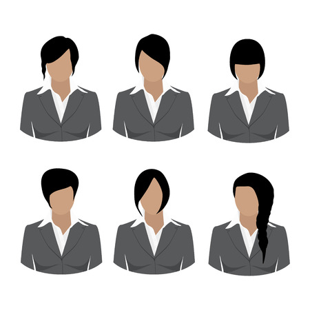 hair style collection: Avatar icon set. Vector illustrations of beautiful young girls, business woman with various hair style. Collection of female hair style. Woman in grey suit