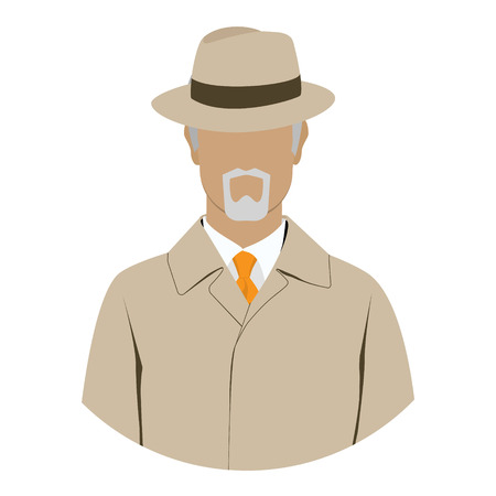 Vector illustration detective, spy avatar icon. Detective character. Investigator in hat, overcoat.