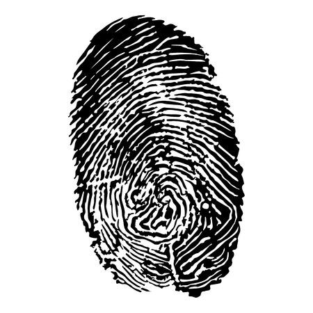 Black silhouette of fingerprint vector illustration, fingerprint icon, fingerprint scan
