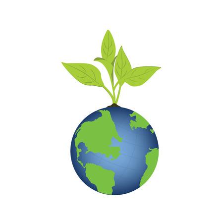 green plants: Vector illustration green plant on earth. Green world concept