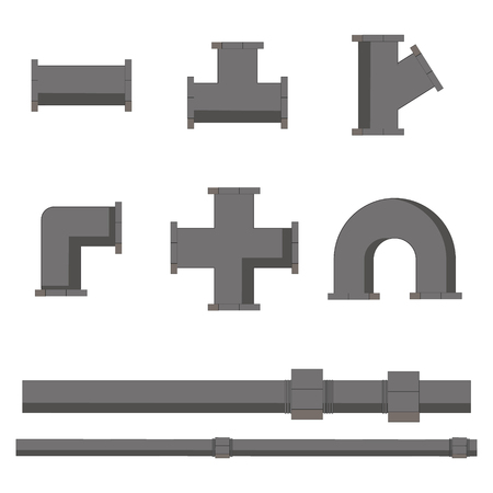 drain: Collection of pipe pieces of various shapes and lengths vector illustration. Pipe fittings vector icons set. Tube industry, construction pipeline, drain system Illustration
