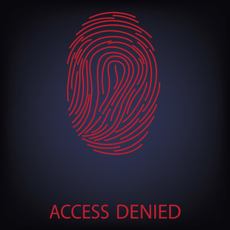 access denied: Vector illustration red fingerprint scanning. Access Denied. Finger print Illustration
