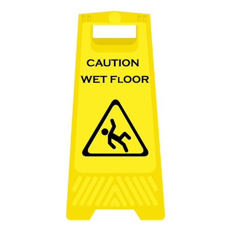 janitorial: Vector illustration yellow sign caution wet floor isolated on white background. Cleaning in progress Illustration
