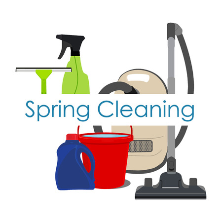 spring cleaning: Vector illustration spring cleaning with cleaning equipment. Housework appliance - bucket, vacuum cleaner, bottle, spray and window squeegee. Spring cleaning background, card