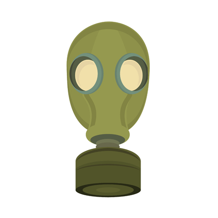 gasmask: Vector illustration military green gas mask isolated on white background. Chemical protective mask icon. Gasmask respirator.