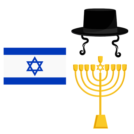 Vector illustration golden menora or menorah usually used at Hanukkah celebrations. Menorah with David star jewish symbol. Orthodox jewish hat with sideburns. Jerusalem flag