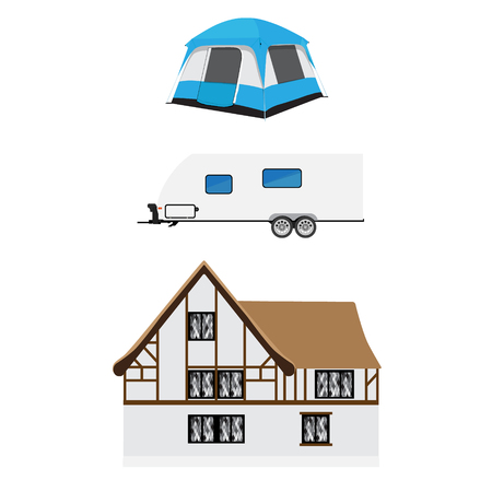camper trailer: Vector illustration recreative vehicle and blue camping tent. Trailer camper. rv camper trailer icon. Modern realistic caravan. Medieval house. Illustration