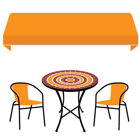 sunshade: Orange shop window awning vintage outdoor table and two chairs. Round table and chair vector icon. Restaurant furniture
