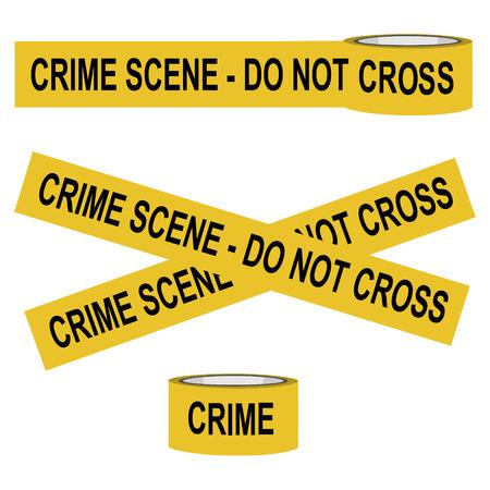 Vector illustration yellow police crime scene danger tape. Do not cross
