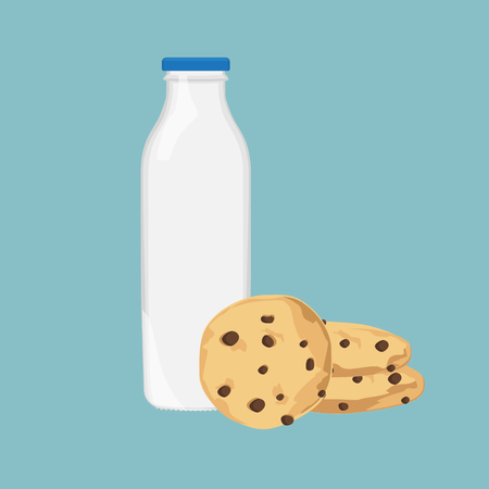 freshly: Vector illustration chocolate chip cookie and bottle of milk. Freshly baked choco cookie icon