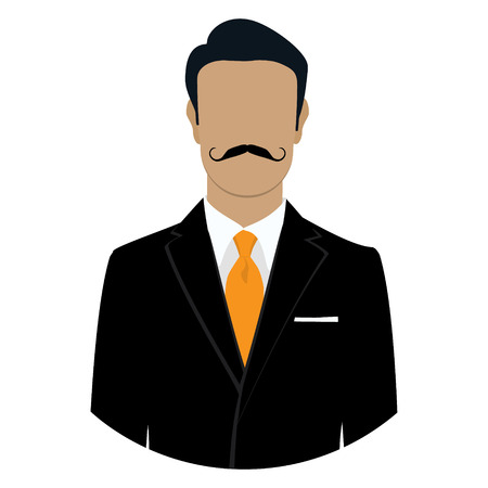 male face: Vector illustration man icon. Businessman in black suit with mustache avatar flat design. Male face avatar