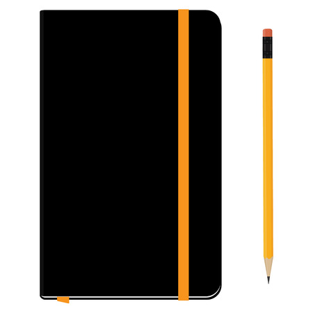 copybook: Blank copybook template with elastic band and bookmark. Black notebook moleskin and yellow pencil with eraser. Stationery tools