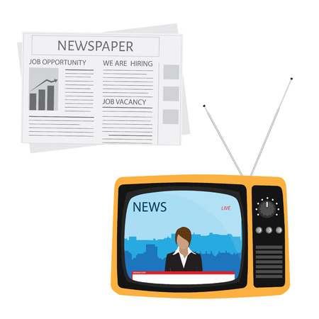 anchorman: Vector illustration anchorman on tv broadcast news on orange retro tv with antenna flat icon. Media on television concept. Breaking news. Newspaper icon vector. Illustration
