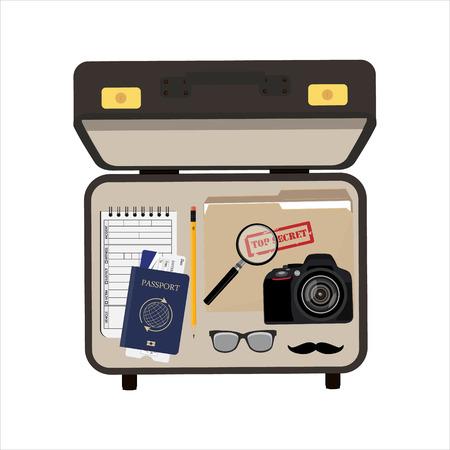 Illustrazione vettoriale valigetta detective vista dall'alto con fotocamera, passaporto e biglietto, occhiali e baffi, cartella di file con top secret e blocco note