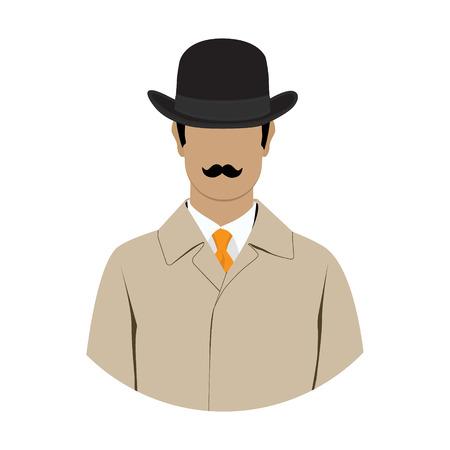overcoat: Vector illustration detective, spy avatar icon. Detective character. Investigator in hat, overcoat.