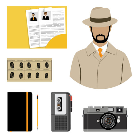 interrogation: Vector illustration detective interrogation concept notepad with pencil and dictaphone. Detective equipment icon set, collection