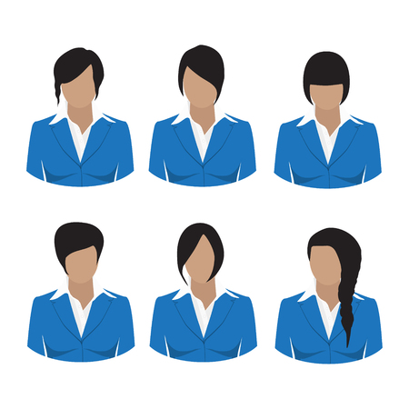 hair style collection: Avatar icon set. Vector illustrations of beautiful young girls, business woman with various hair style. Collection of female hair style. Woman in blue suit