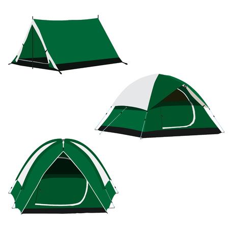 camping equipment: Vector set of three green camping tents vector illustration. Camping equipment, camping gear, camping icon Illustration