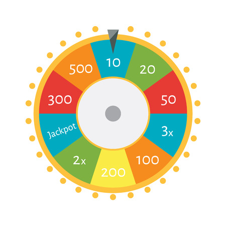 Vector illustration wheel of fortune. Lucky spin icon in flat style. Vektorové ilustrace
