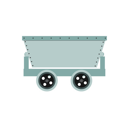 Vector illustration empty trolley mine for resource delivery. Wagon for coal, mineral, ore. Minecart Illustration