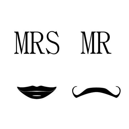 mr: Ladies and gentleman vector illustration black silhouette lips kiss and  mustache. Mrs and mr symbols
