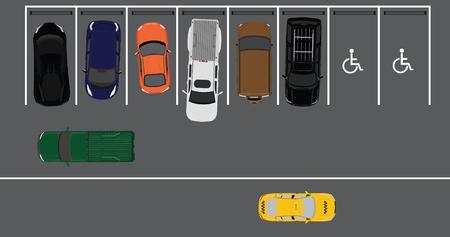 offroad car: Vector illustration top view parking lot concept. Sport car, pick up car, sedan car and offroad car. Parking zones. Illustration