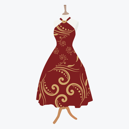 bordo: sVector illustration elegant cocktail, evening woman dresses on mannequin for boutique. Red, bordo dress with seamless pattern Illustration