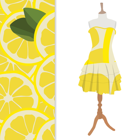 Vector illustration beautiful, cute woman dress on mannequin for boutique.  And seamless pattern with lemon slices Illustration