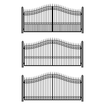 fencepost: Vector illustration wrought-iron fence. Set of old metal fence and gates. Gates silhouettes