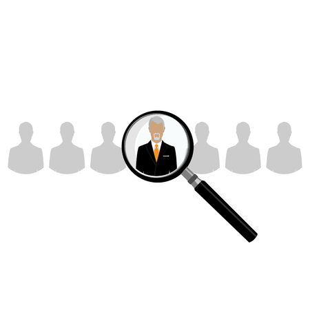 choose person: HR with magnifier looking for worker in crowd. A magnifying glass finds, selects or inspects a person in a line of people. Search choose for employment, recognition, promotion, hire