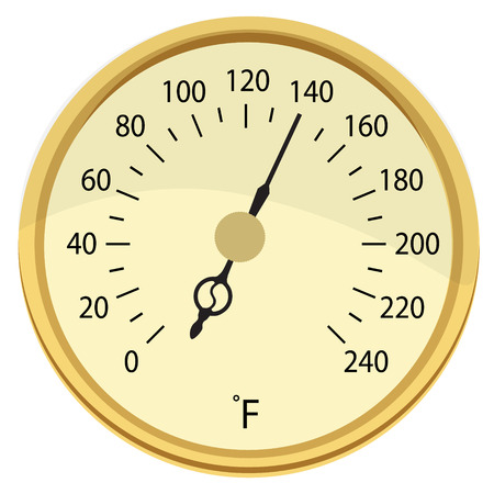 thawing: Vector illustration retro golden food, meat thermometer. Cooking thermometer