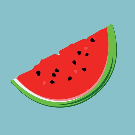 Vector illustration big watermelon slice cut on blue background. Flat design icon Illustration