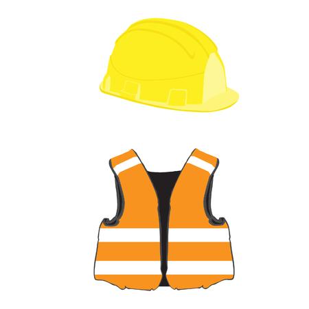 Yellow building helmet and orange vest vector set, protective workwear, worker