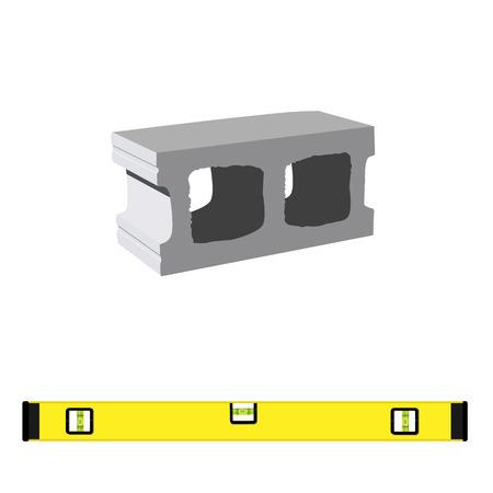 벡터 일러스트 레이 션 건축 작품 및 측정을위한 수준 구성에 대 한 표준 콘크리트 빌딩 블록. 석조물에 사용되는 시멘트 블록 아이콘