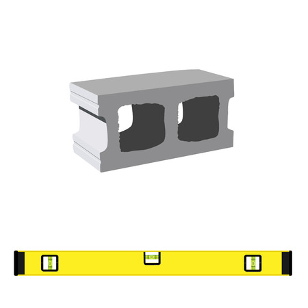 Vector illustration standard concrete building block for architectural works and level construction for measuring. Cement block icon used for masonry Çizim