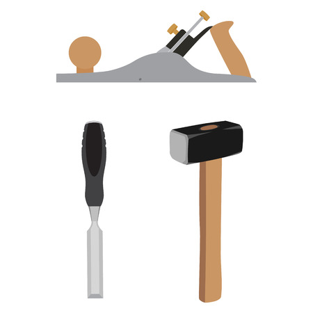 Vector illustration working tools sledge hammer, chisel and  jointer. Hammer and chisel icon Illustration