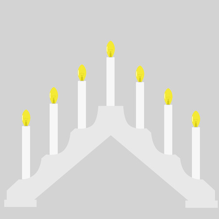 advent candles: Vector illustration advent lighting candle bridges with seven electric bulbs. Christmas decoration for window