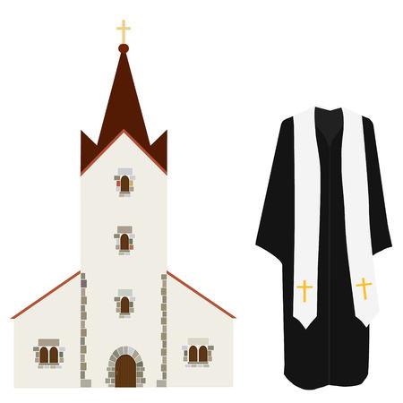 predicador: ilustración vectorial rezo sacerdote de la iglesia pastor o predicador disfraz. edificio de la iglesia del icono del vector, capilla de la boda, cristiana católica Vectores