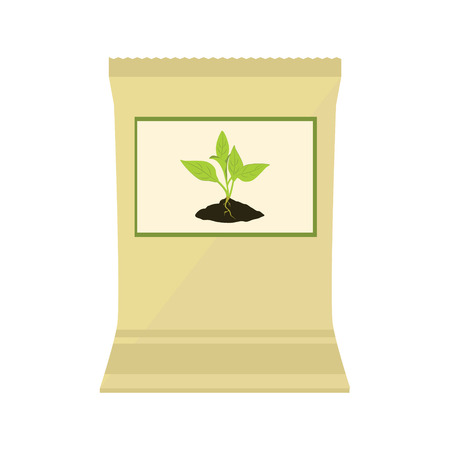 phosphate: Vector illustration brown, paper bag with fertilizer. Plant growing in the ground. Little plant seedling. Seedling icon