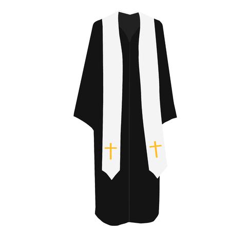 predicador: ilustración vectorial rezo sacerdote de la iglesia pastor o predicador disfraz.